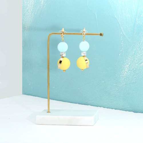 Little nb round beads hit color earrings - blue