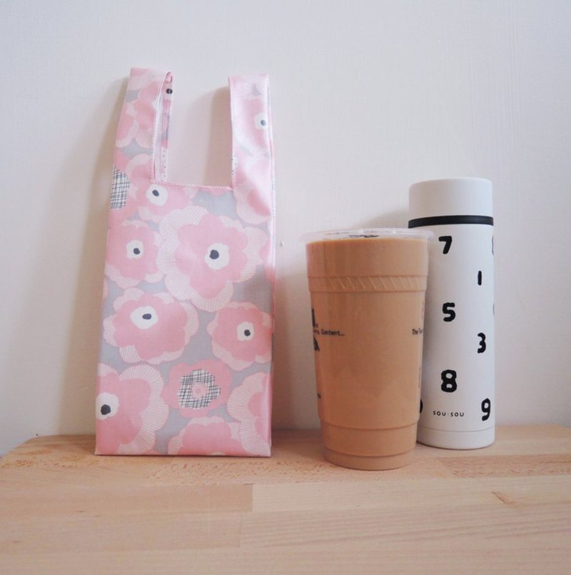 (NG) green bag for drinks - Pink Flower