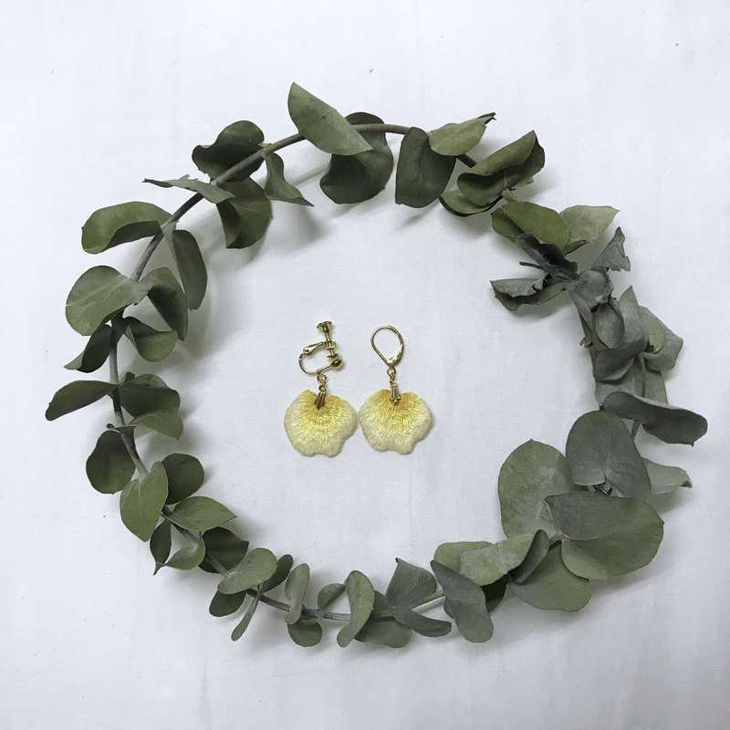 Yellow rose hand embroidery earrings