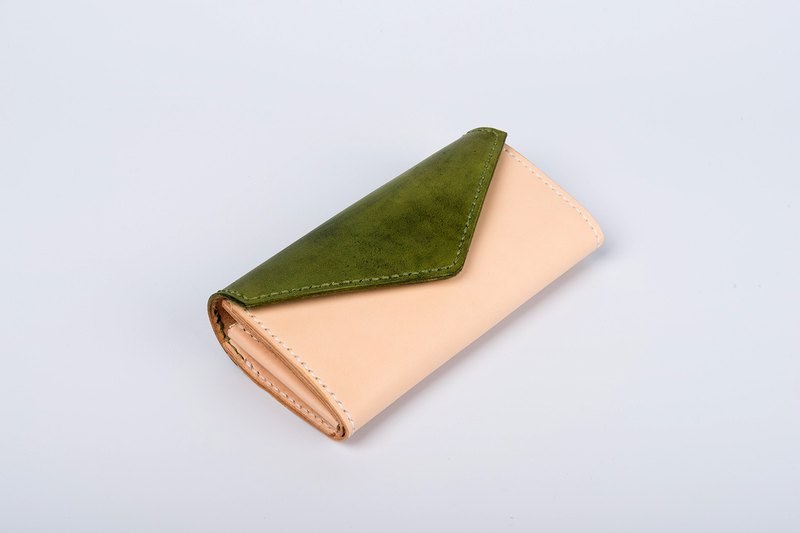 [tangent pie] recall envelope large capacity leather handmade custom stitching contrast color long wallet clutch