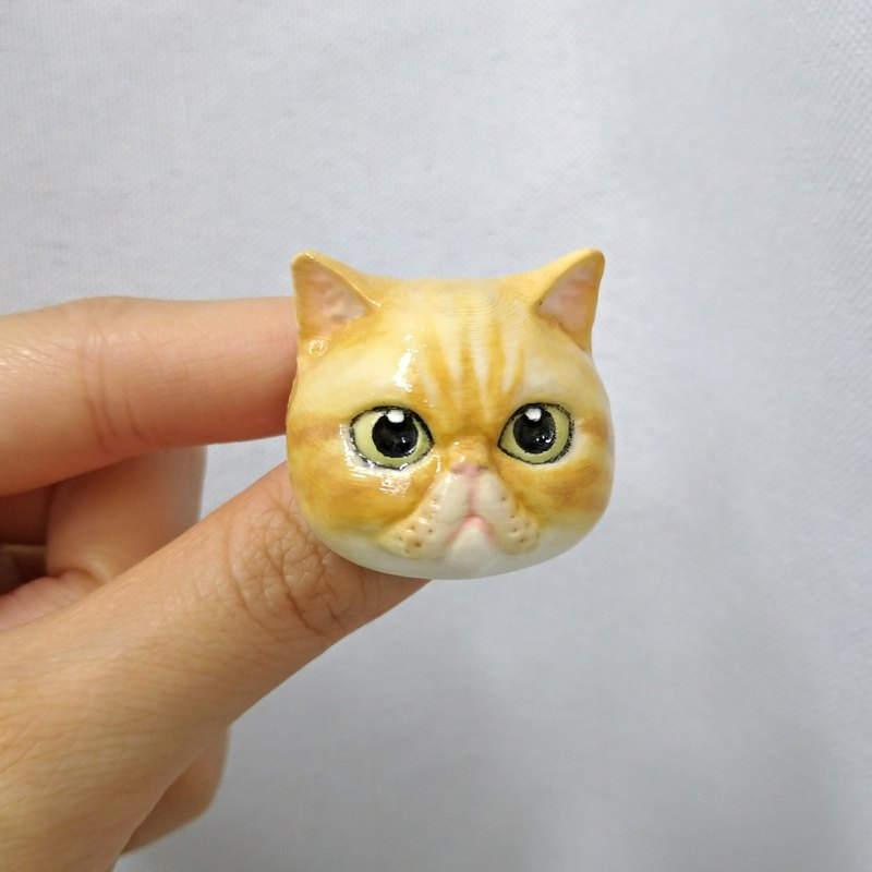 3D Print ~ Hand-Painted Exotic Shorthair Cat Brooch