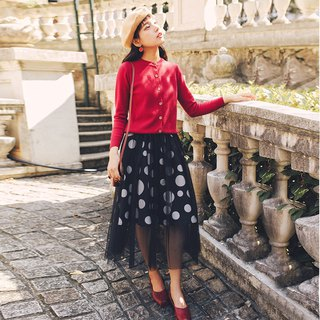2018 autumn and winter ladies new mesh polka dot skirt