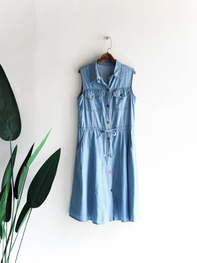 Wakayama Light Blue Drawstring Drawstring Summertime Antique Denim Vest Dresses overalls vintage