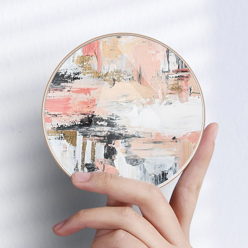 Oil Paint Pink Round Wireless Qi Charger compatible with most phones