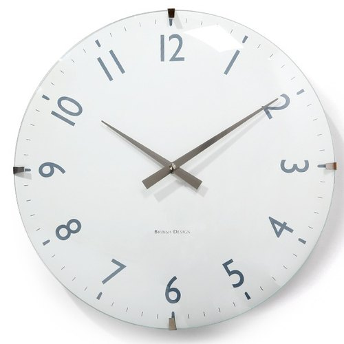 [019022-01] a.cerco British clock woodgrain design (40cm) - White