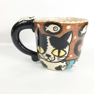 Nice Little Clay handmade mug happy flower cat 0103-13