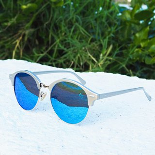 Polarized Sunglasses│Vintage Oval Frame│Blue Lens│UV400 Protection│2is PerryS
