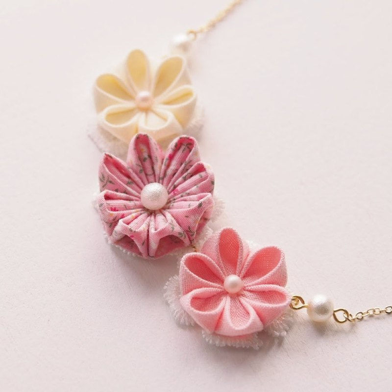 Lovely Pink Fabric Floral 16K Gold Plated Necklace