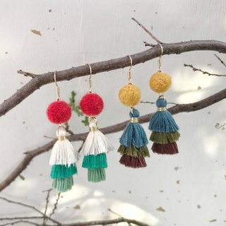 Fringed Christmas tree hand made wool felt earrings free packaging can be changed ear clip