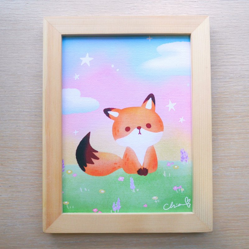 Fantasy Prairie Little Fox / ChiaBB Wooden Frame Painting (15x20cm)