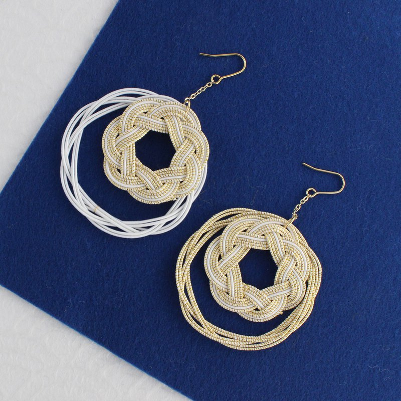 japanese style pierce earring / ear clip /mizuhiki / accessory / circle