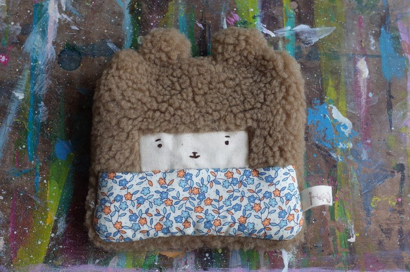 Duo rabbit rabbit coin purse - brown hair color -042 blue orange small floral
