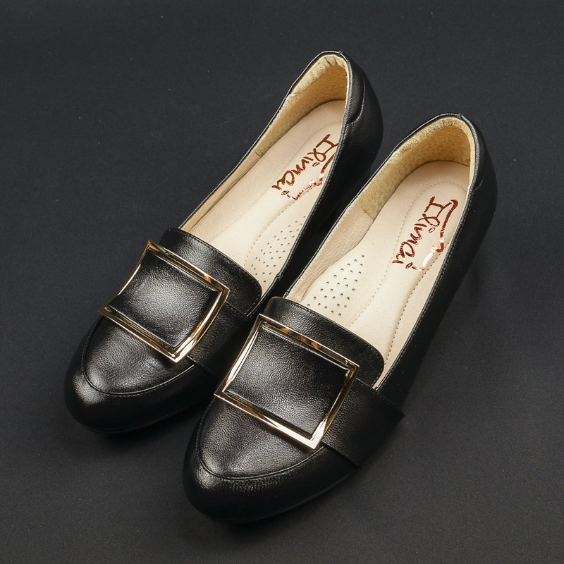 Square ring buckle Love with work shoes - intellectual black