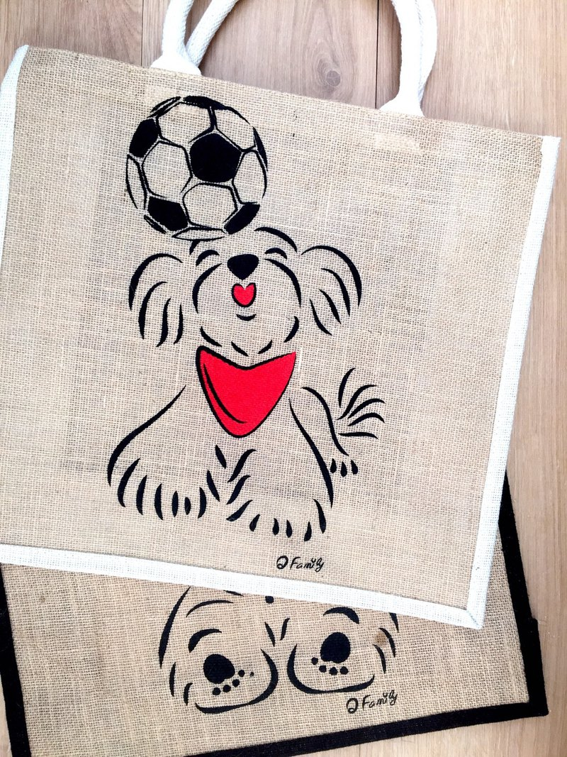 Q Family double-sided linen shopping bag football Xiaoma black side white side