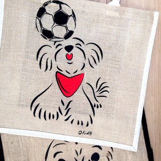 Q Family double-sided linen shopping bag football Xiaoma black side white side at the end of September plus send Q Family map