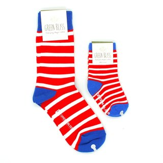 GREEN BLISS Organic Indian Socks - Parenting Promotions Cyclamen Blue Socks & Stripes Parent Socks (Neutral)