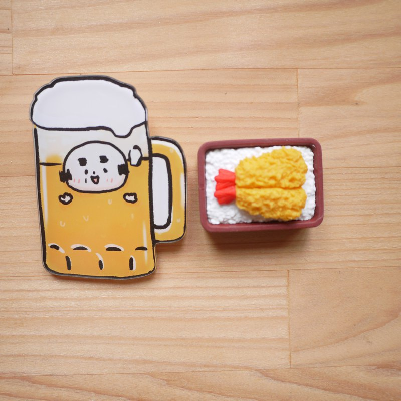 Acrylic pin / beer old man