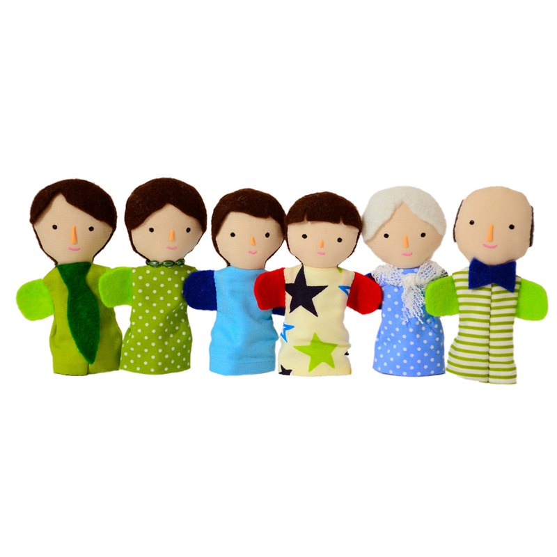 Family of finger puppets  - Light tan skin color - Set of 6 Dolls. Christmas gif