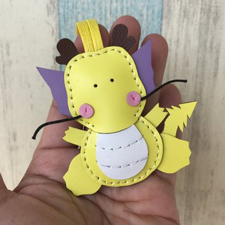 Leatherprince handmade leather Taiwan MIT yellow cute dragon hand-stitched leather strap small size small size