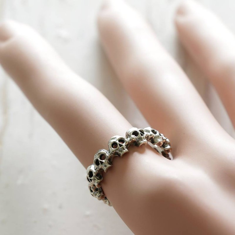 Gothic Skull small Ring Stacking Sterling Silver Goth Punk Jewelry Skeleton her