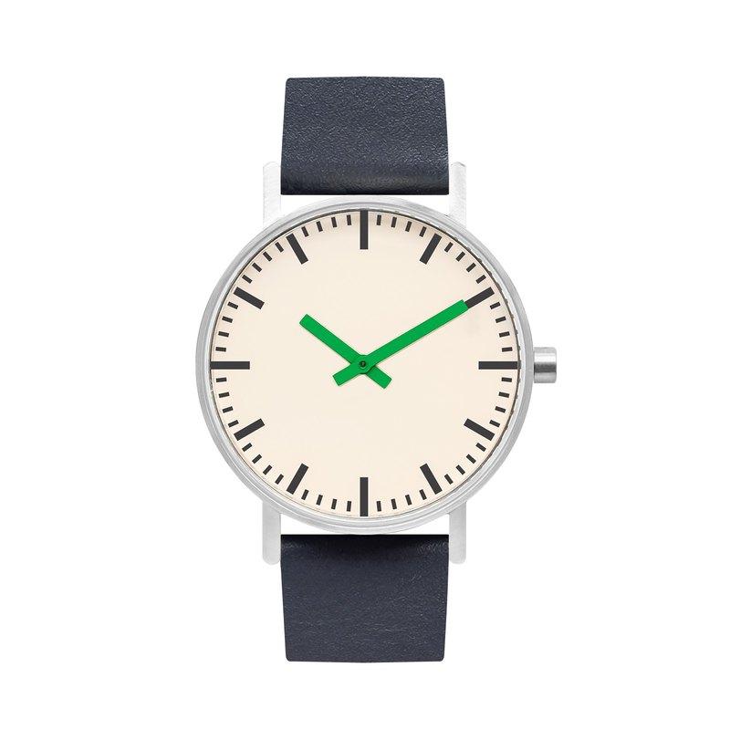 BIJOUONE B50系列手錶綠色指針深藍色皮表帶簡約防水個性設計男女