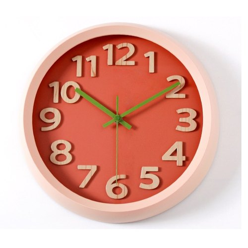 【019005-04】 a.cerco Fami wall clock - simple series (four colors optional) - wood grain word - red