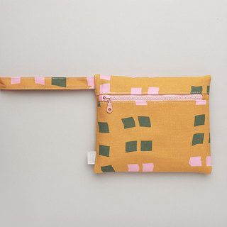 Long ear zipper bag / clutch / orange kite