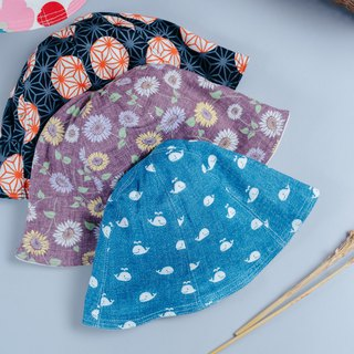 Double-sided fisherman hat hemp leaf dot sunflower small whale children's clothing newborn baby parent-child