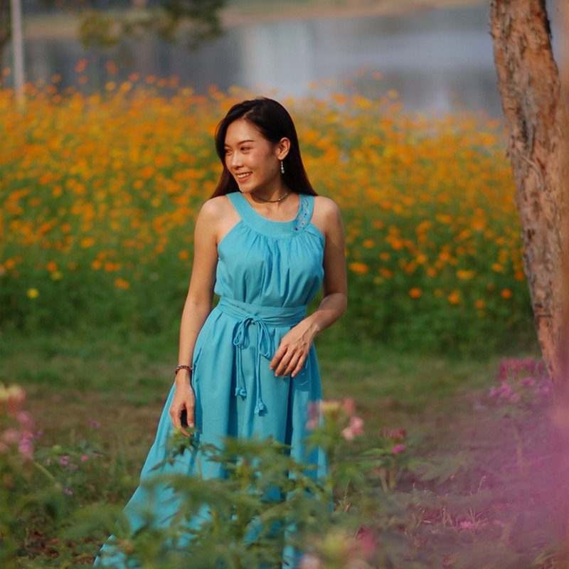 Cotton Maxi Dress, Hand embroidery/ Turquoise