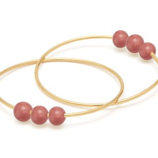 <Lockena - Nordic Collection> Coral Porcelain Beads 24K Yellow Gold Plated Earrings