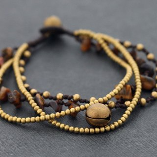 Tiger Eye Chain Layer Bracelets Brass Cord Woven Braided