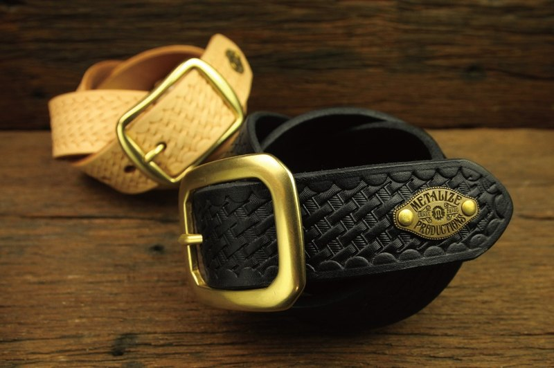 [METALIZE] Brass Basic Woven Belt (Black/Plain)