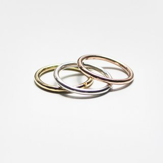 Combination Series - Tri-color three-ring thick ring ring / silver and copper
