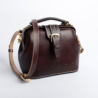 [Cut line] doctor bag gold package pure hand-stitched leather retro ladies Messenger bag handbag magnetic buckle version