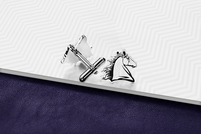 Horse Cufflinks 925 sterling silver - Animal Cufflinks - Engraved Cufflinks