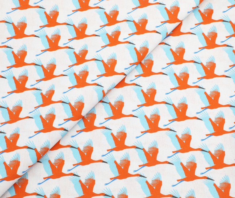 Thin cotton fabric | stork to send the bird white 143 cm wide | woopo