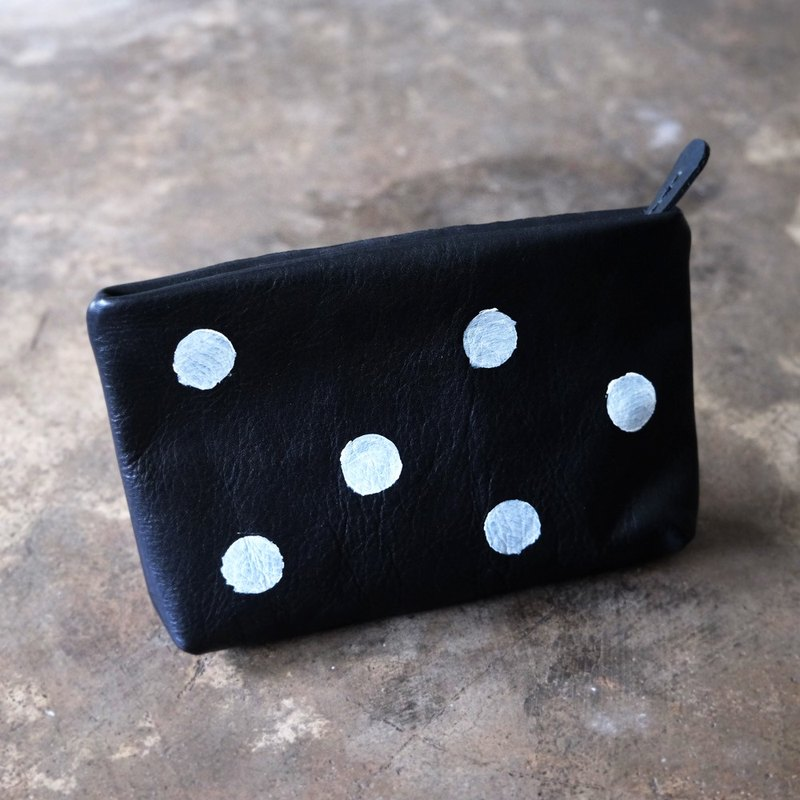 Hand Painted Polka Dots Leather Clutch / Small Simple Women Black and White DotsPurse