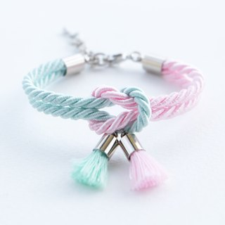 Light mint & blush pink knot bracelet with tassel charm