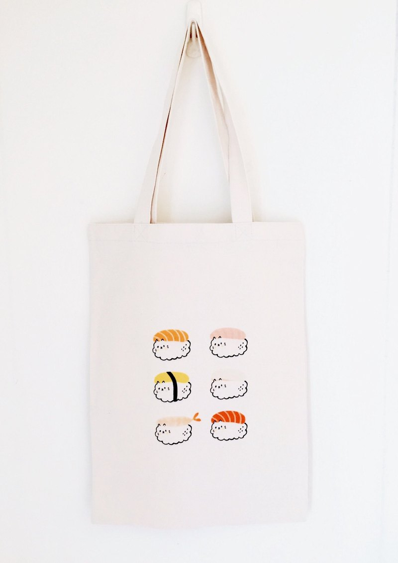 Sushi Collection Cat Green Cotton Canvas Bag