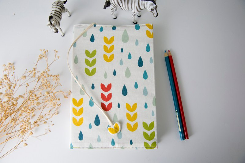(Colorful leaf raindrops) cloth book cover A5/book clothing/adjustable book clothing/book cover/book cover