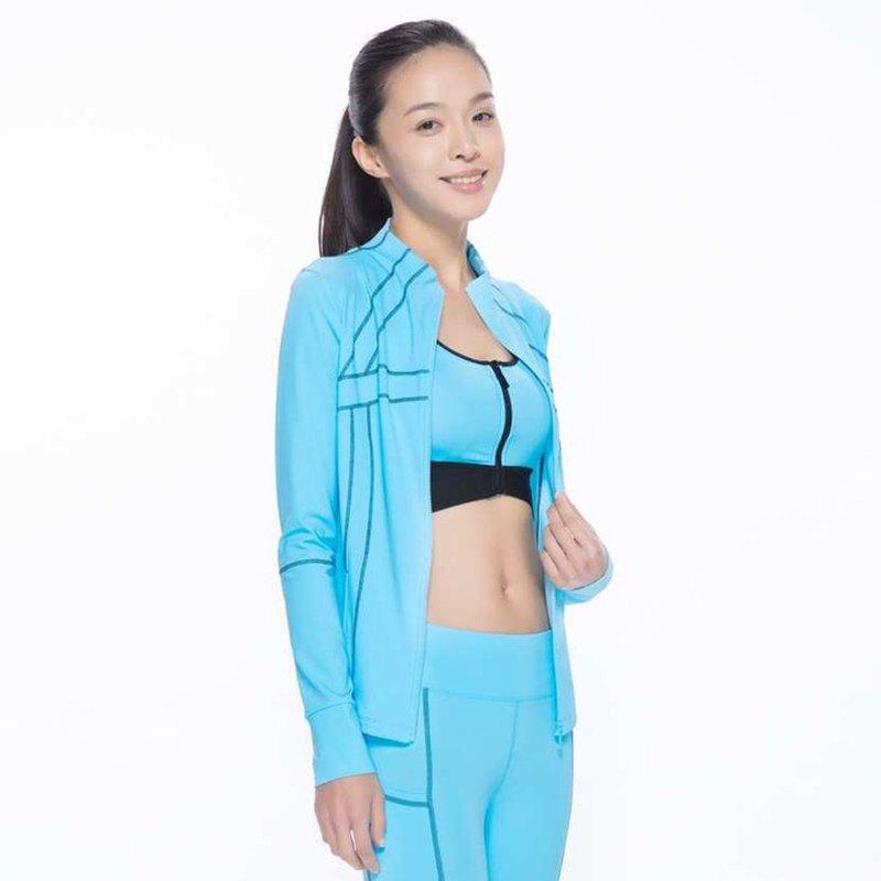 5c82437d3 HOII Fit Striped T Shirt with Mandarin Collar - Blue