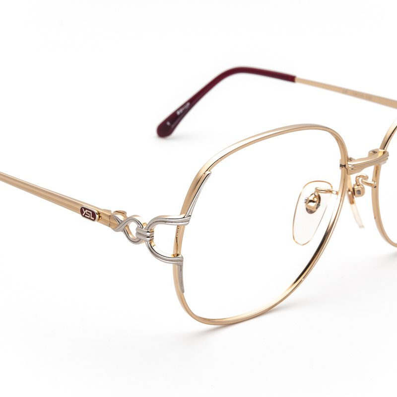 1980's Yves Saint Laurent Premium Double Gold Chain Antique Glasses