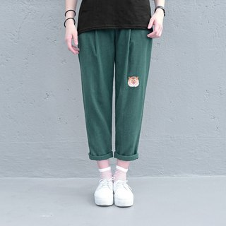 [Limited ten pieces] Suyan Huye - forest cool cotton and linen patch casual pants