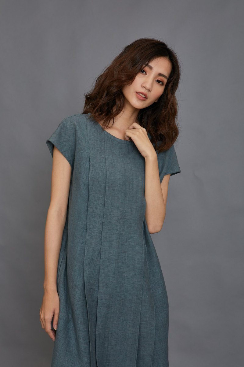 pleat dress-acid blue-fair trade