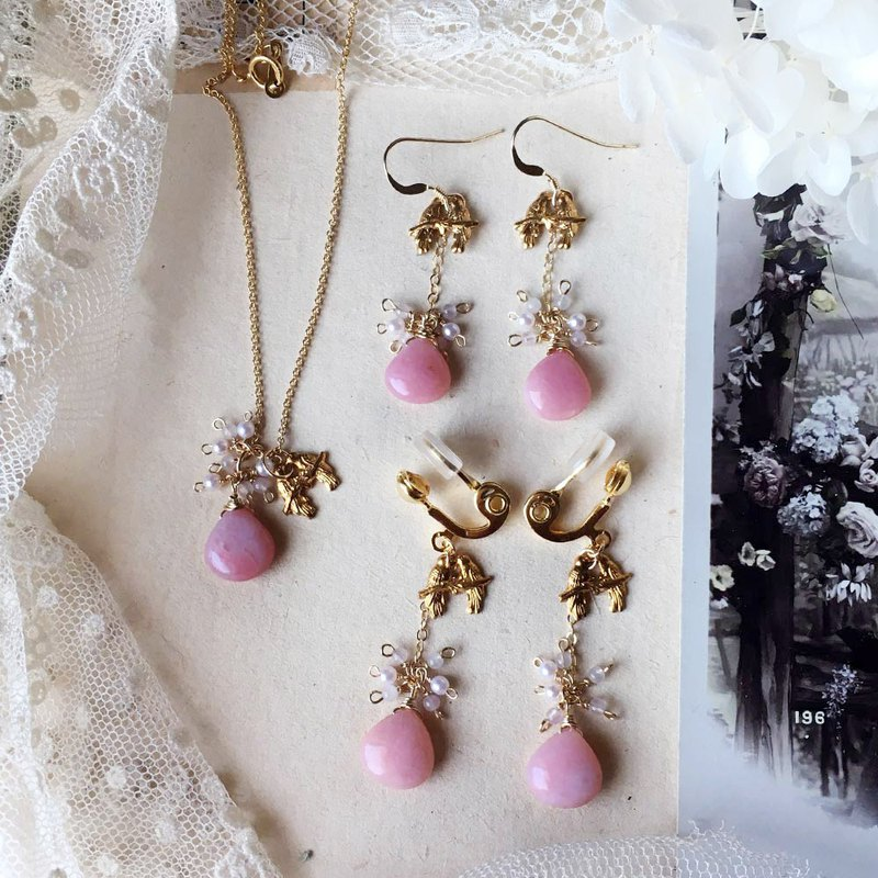 [One week limited sale] 14kgf pink opal and lovebird necklace