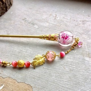 Meow ~ hand painted glass as internal Plum hairpin (pink plum)