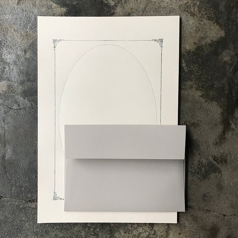 Letter envelope group / typographic retro box / rice paper printed silver ink