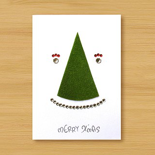 Handmade small turf card _ smile turf Christmas tree... Christmas card, Christmas tree, Christmas