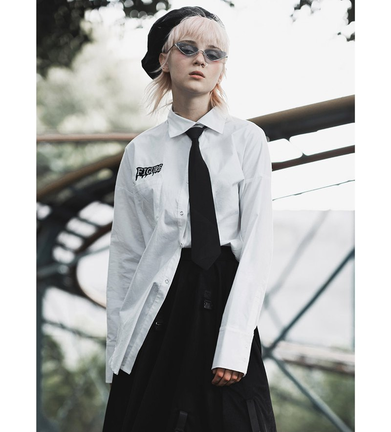 Punk College Embroidered Long Shirt