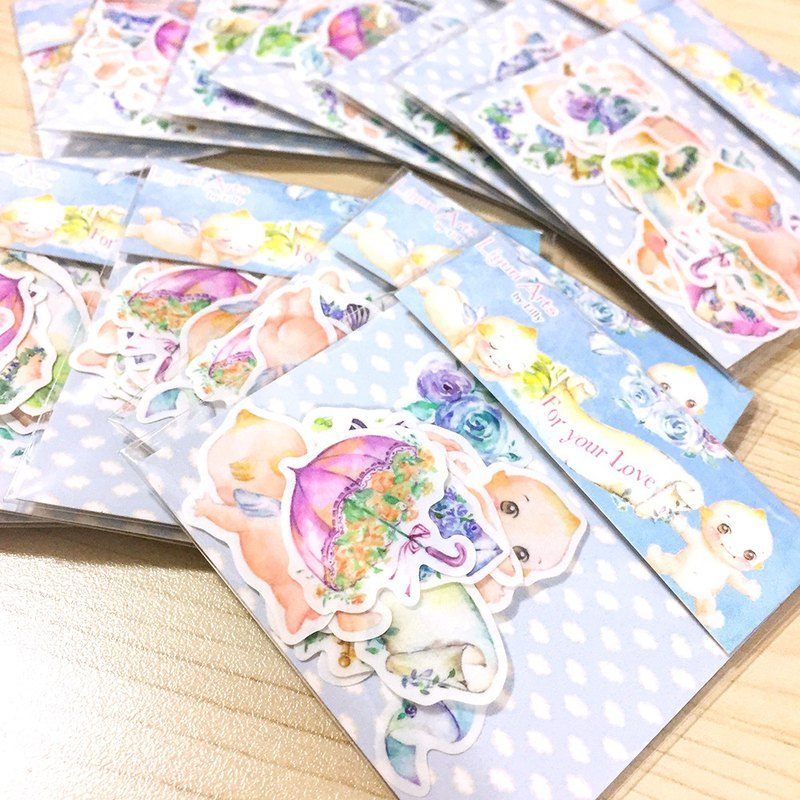 Cute watercolor stickers set - For my Love